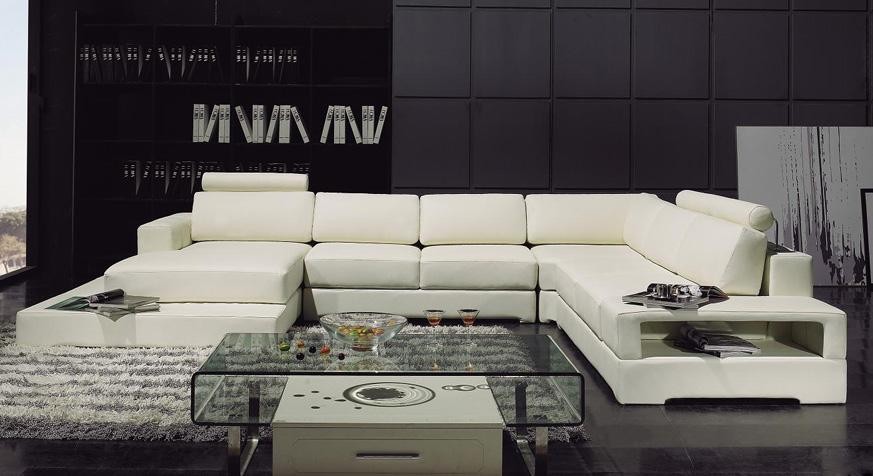 Modern Living Room Leather Sectional Sofa