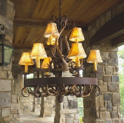 Log cabin lodge cottage lighting home interior for Log cabin chandelier